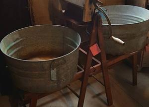 Antique folding bench double rack clothes wringer w/Tubs - $195